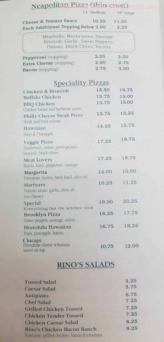 Rino S Italian Restaurant Menu