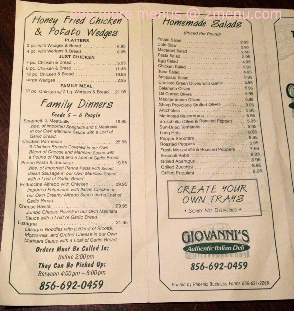 super popular 13e82 36862 Online Menu of Giovannis Italian American Delicatessen ...