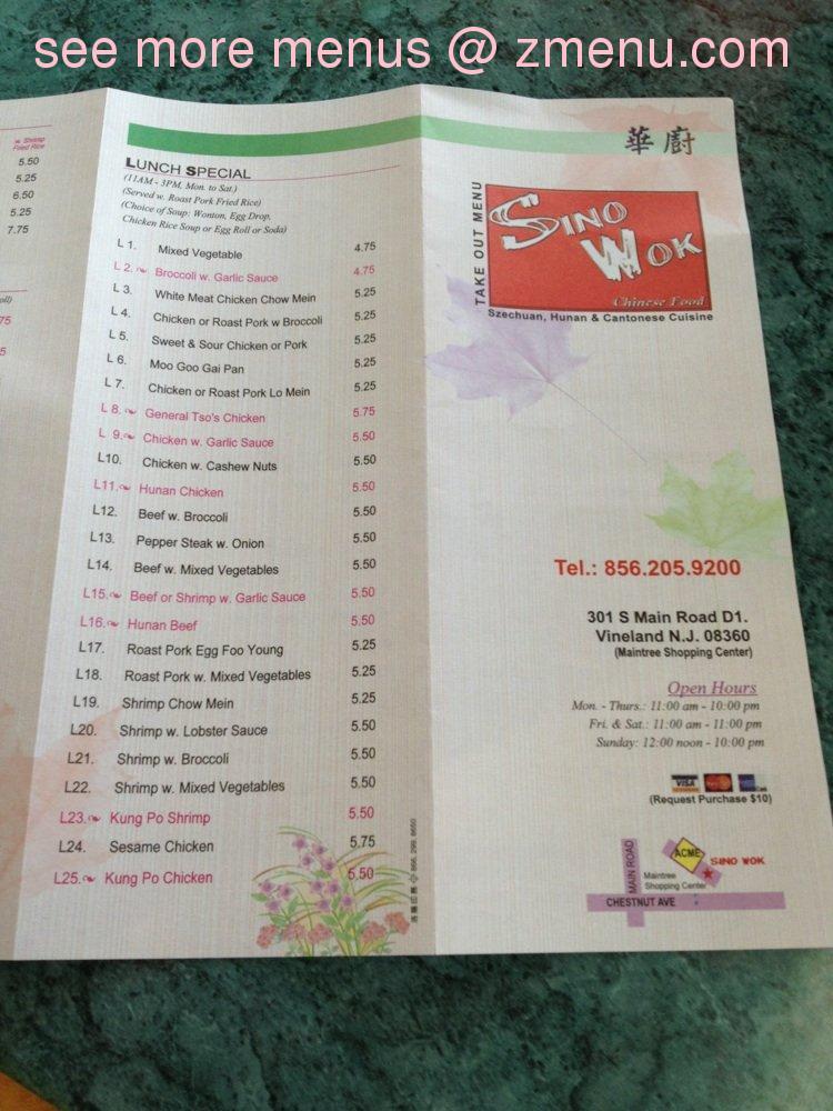 Chinese Food Menu Vineland Nj