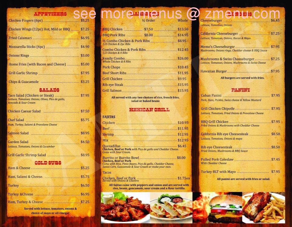 online menu of memo s place restaurant washington new jersey
