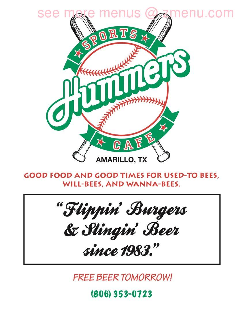 Online Menu of Hummers Sports Cafe Restaurant, Amarillo ... | hummers amarillo tx