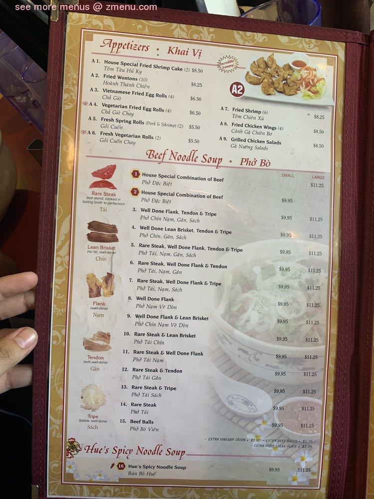 Menu At House Of Pho Restaurant San Jose Almaden Expy