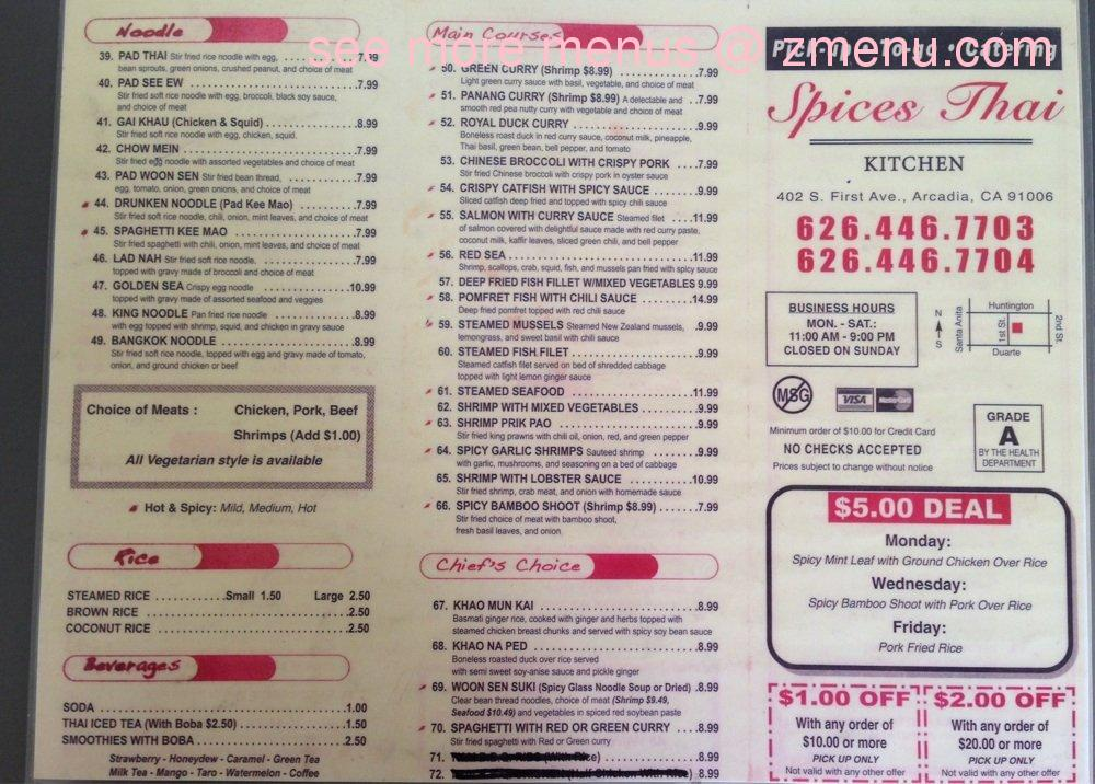 online menu of spices thai kitchen restaurant, arcadia, california