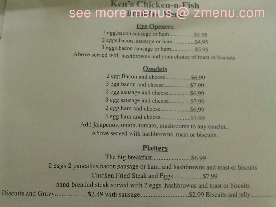 Online menu of ken 39 s chicken n fish restaurant for Fish 101 menu