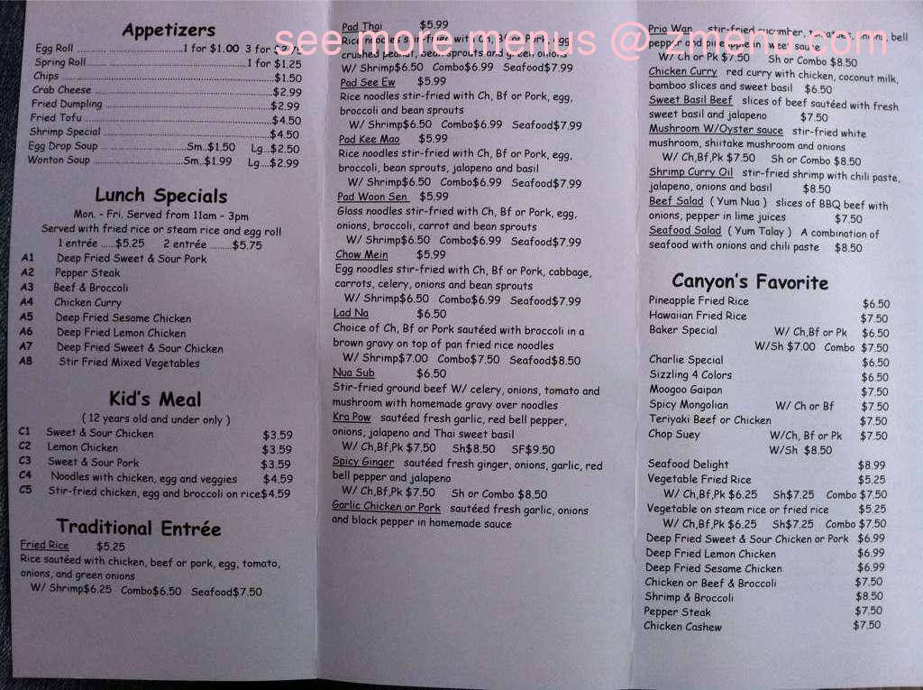 Best Thai Restaurant Canyon Tx Hours