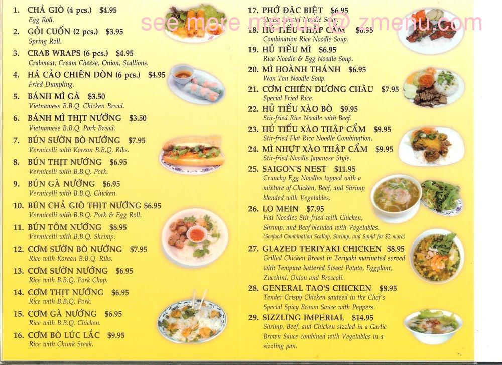 Saigon Pho Restaurant Menu
