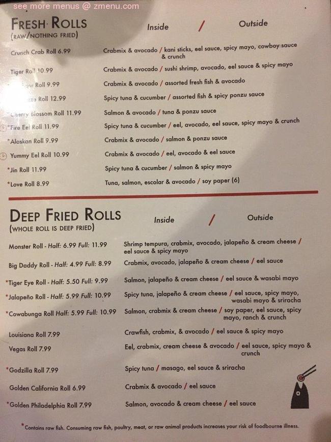 Menu of Aji Sushi in College Station, TX 77840
