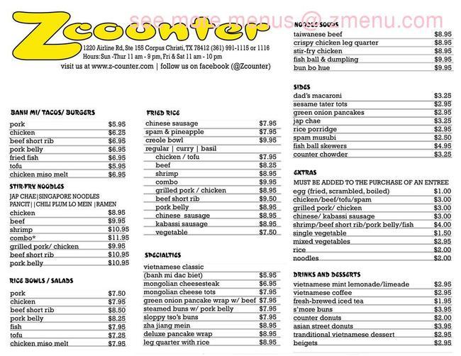 Online menu of z counter restaurant corpus christi texas 78412 zmenu for Bamboo garden corpus christi menu