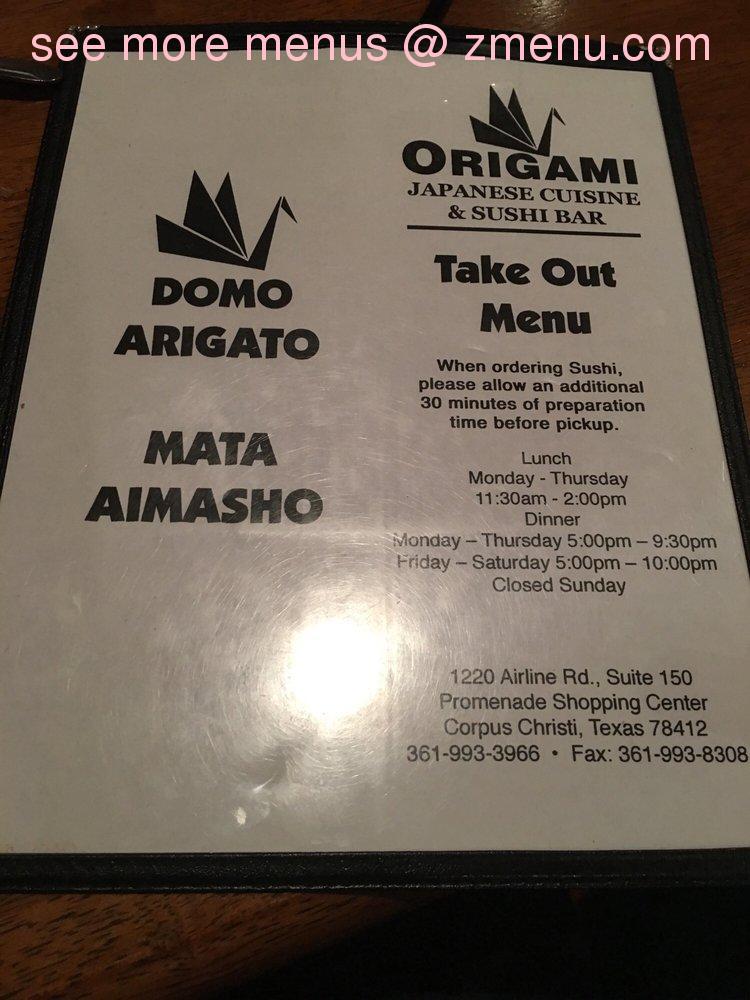 Online Menu Of Origami Japanese Cuisine Sushi Bar Restaurant