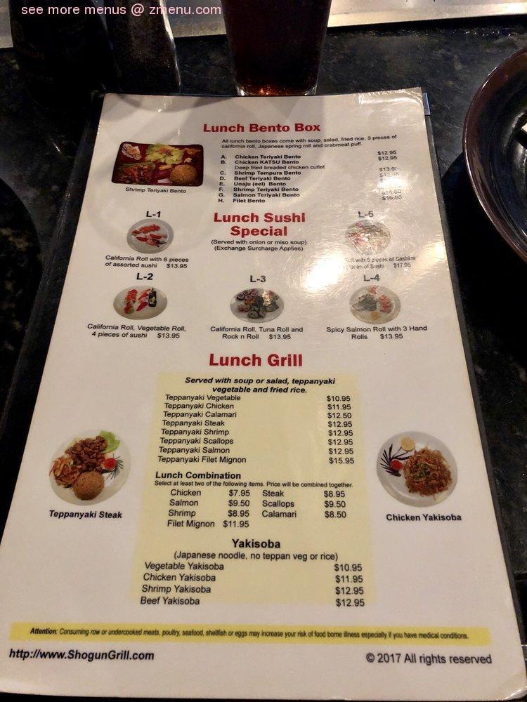 Online Menu of Shogun Japanese Grill & Sushi Bar ...
