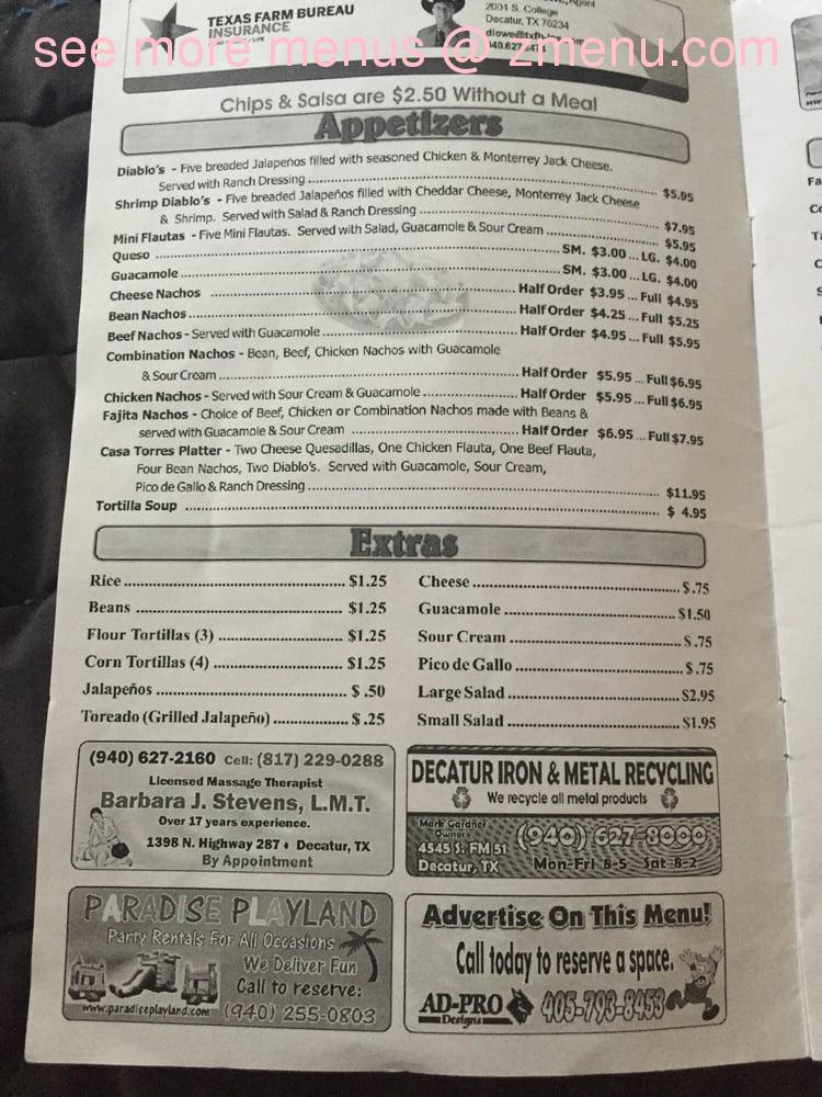 Torres Mexican Food Menu