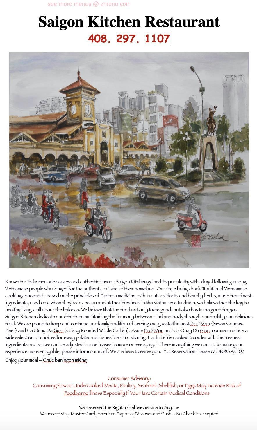 Online Menu Of Saigon Kitchen Restaurant San Jose California 95109 Zmenu