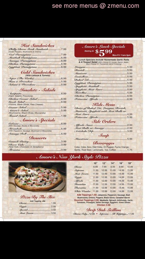 picture relating to Wingstop Printable Menu known as On the internet Menu of Amores Italian Cafe Cafe