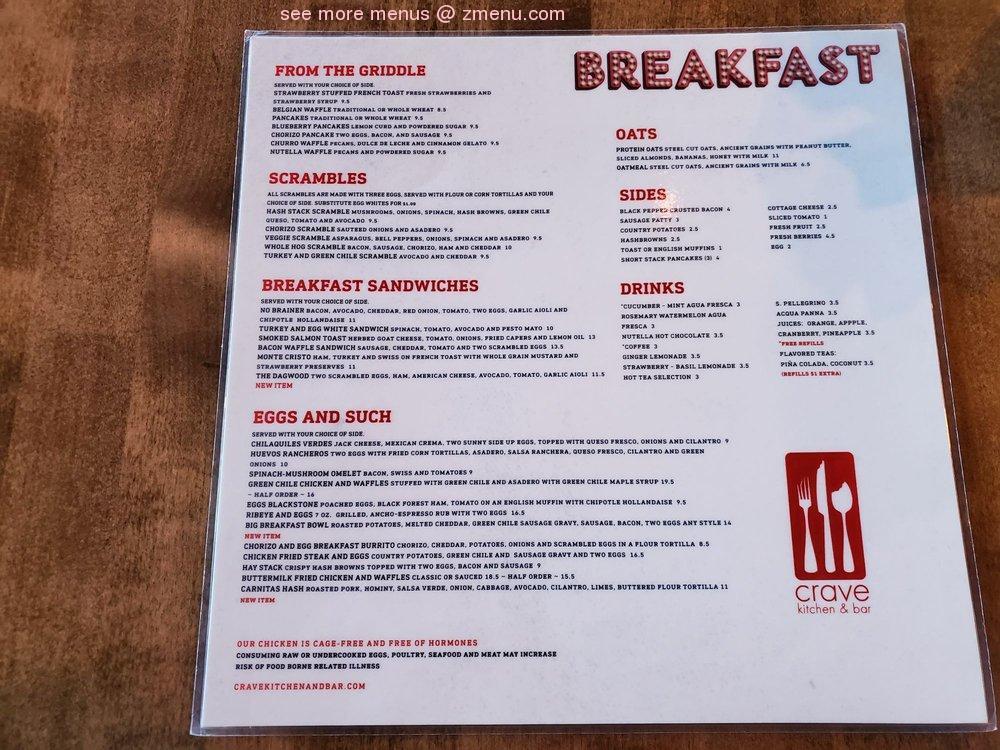 Online Menu Of Crave Kitchen And Bar Restaurant El Paso Texas 79902 Zmenu