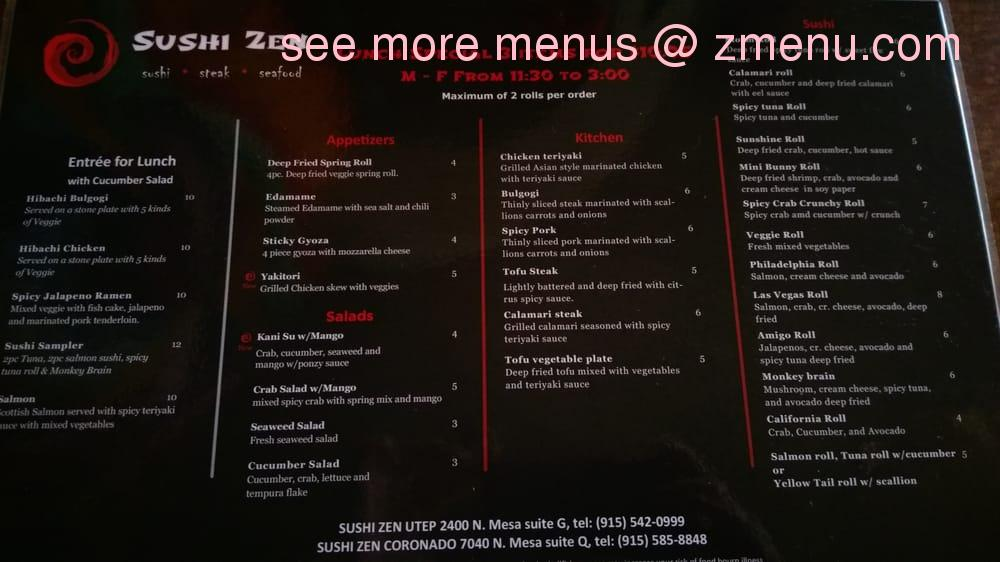 Zen Japanese Restaurant Lunch Menu