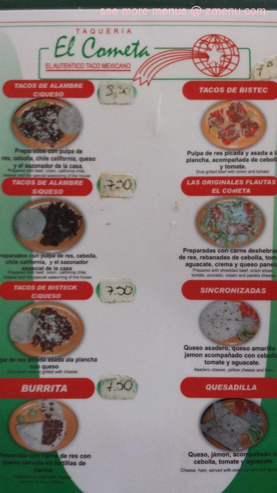 Online Menu of El Cometa Restaurant, El Paso, Texas, 79925 - Zmenu