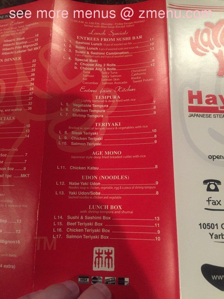 Hayashi Restaurant Menu El Paso Tx