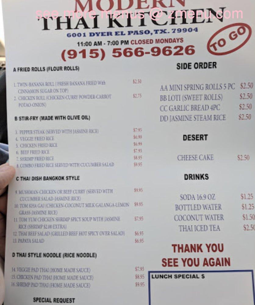 Online Menu of Modern Thai Kitchen To Go Restaurant, El Paso, Texas ...