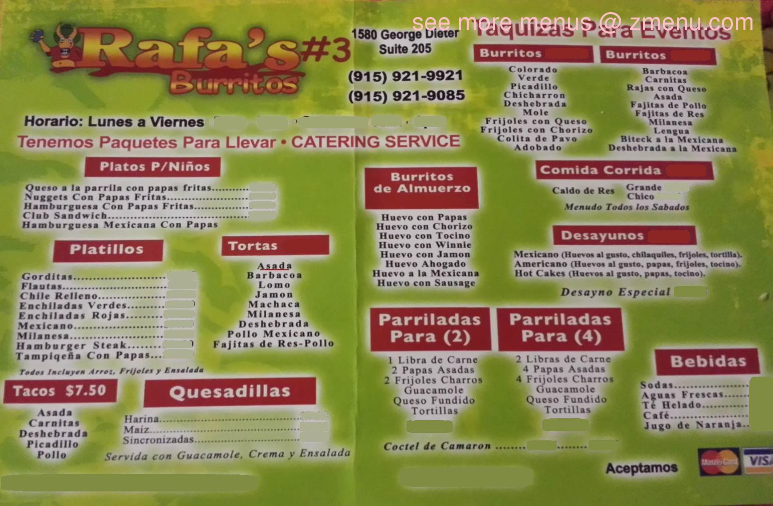 Online Menu Of Rafa S Burritos Restaurant El Paso Texas