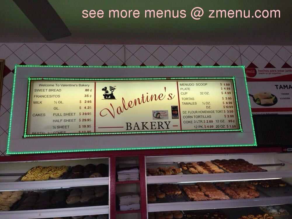 Online Menu Of Valentines Bakery Restaurant El Paso