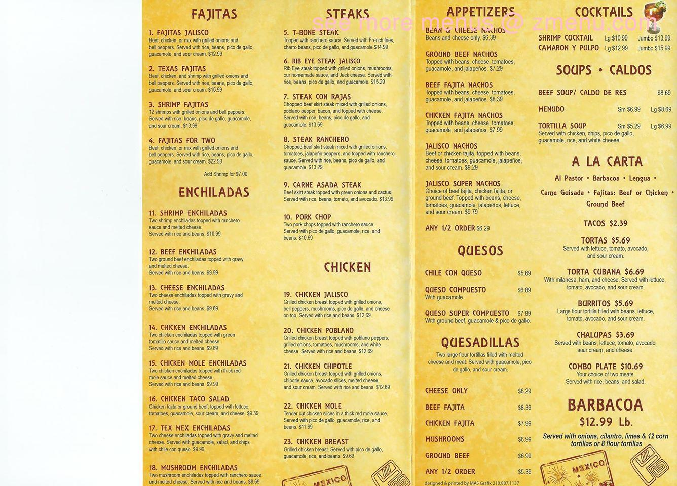 Permalink to Jalisco Restaurant Menu