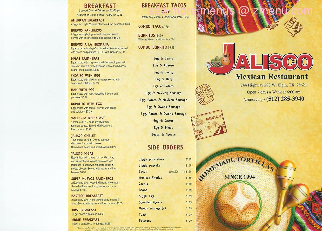 Jalisco Mexican Restaurant Menu