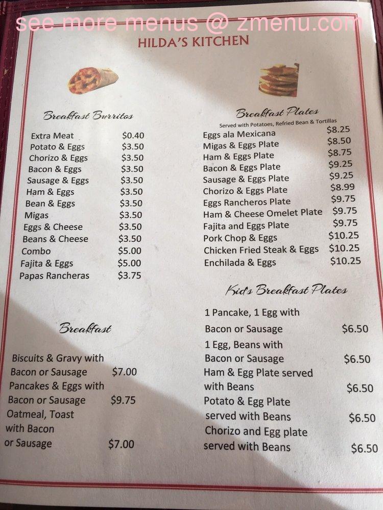 Online Menu Of Hildas Kitchen Restaurant Ennis Texas 75119 Zmenu