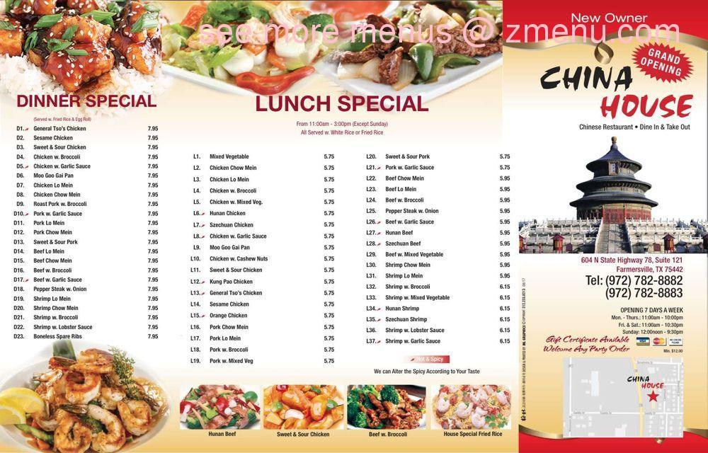 online menu of china house restaurant farmersville texas