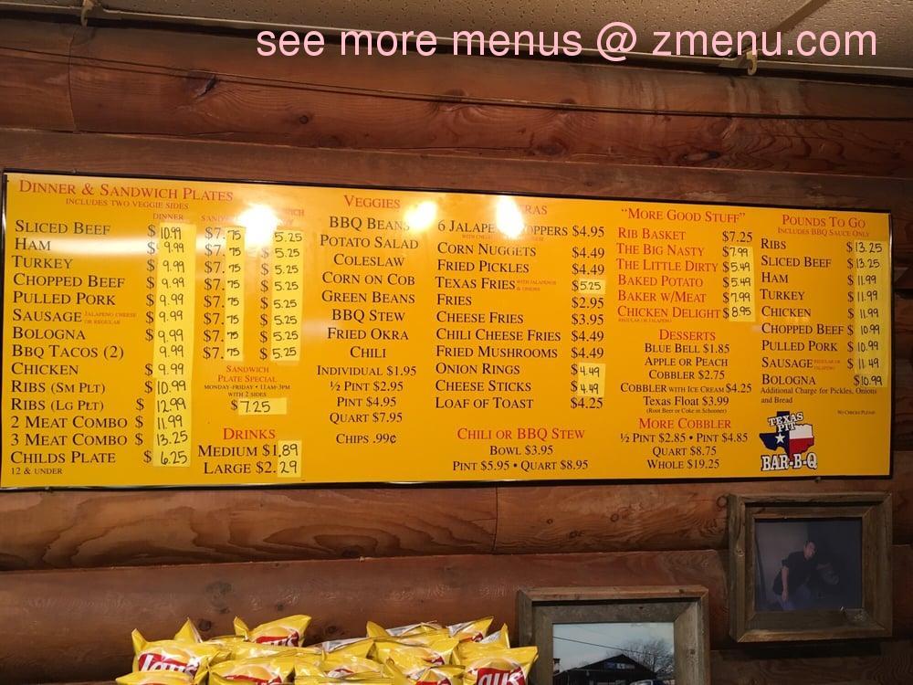 Online Menu Of Texas Pit B B Q Restaurant Saginaw Texas 76179 Zmenu