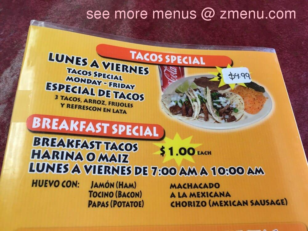 Online Menu Of Taqueria La Super Sabrosa Restaurant Fort Worth