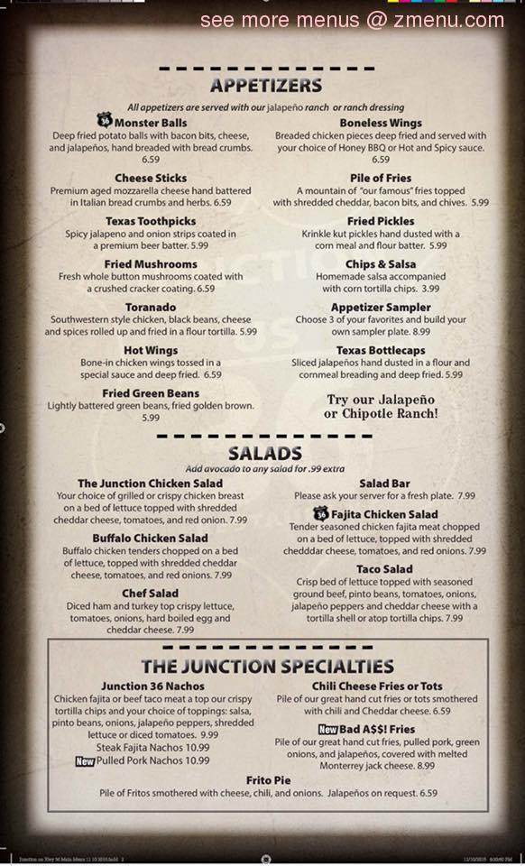 Junction  Restaurant Gatesville Tx Menu