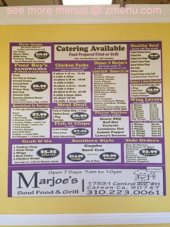Online menu of marjoe 39 s soul food and barbecue restaurant for Soul fish cafe menu