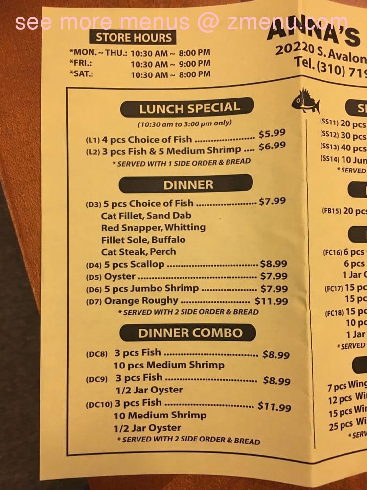 Online menu of ann 39 s fish market restaurant carson for Seven fishes menu