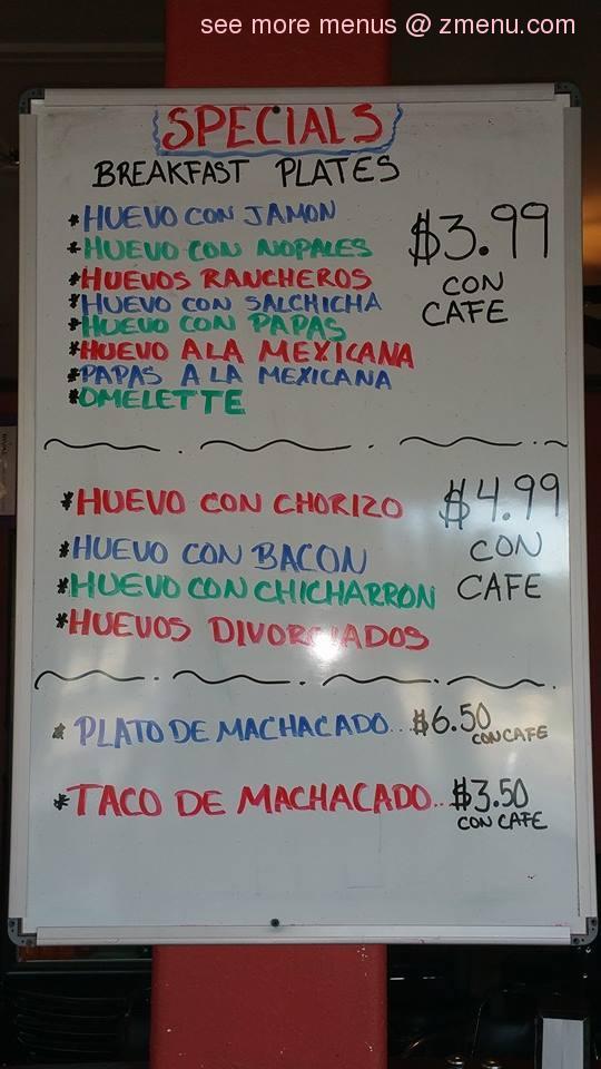 Online Menu Of Taqueria El Mante Restaurant Harlingen Texas 78552 Zmenu