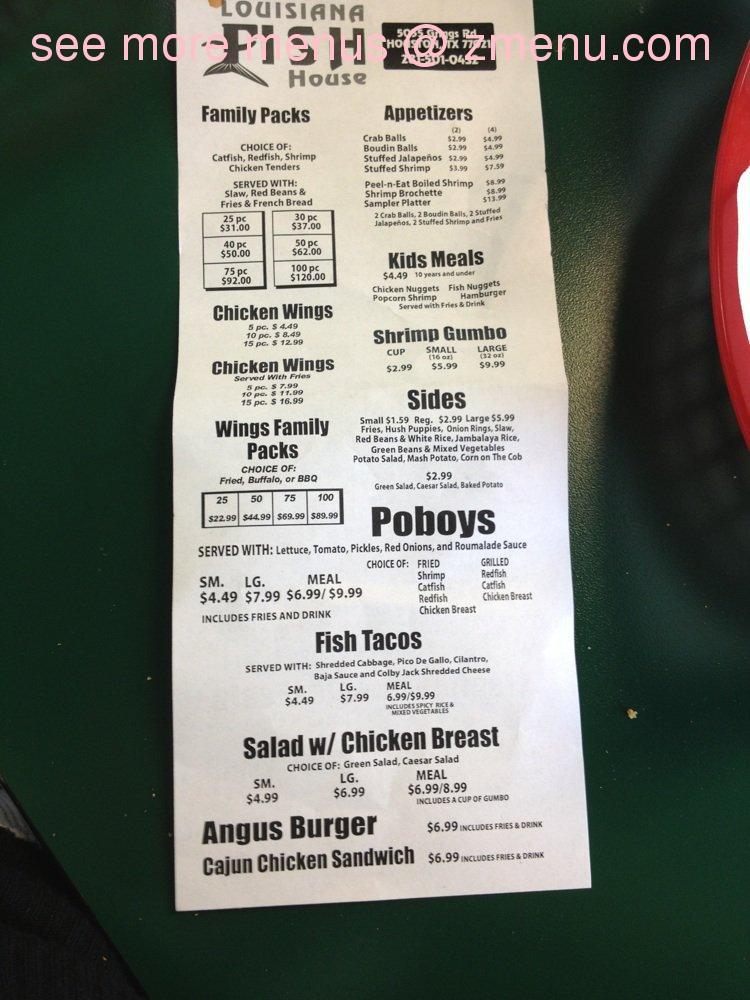 Online Menu Of Louisiana Fish House Restaurant Houston