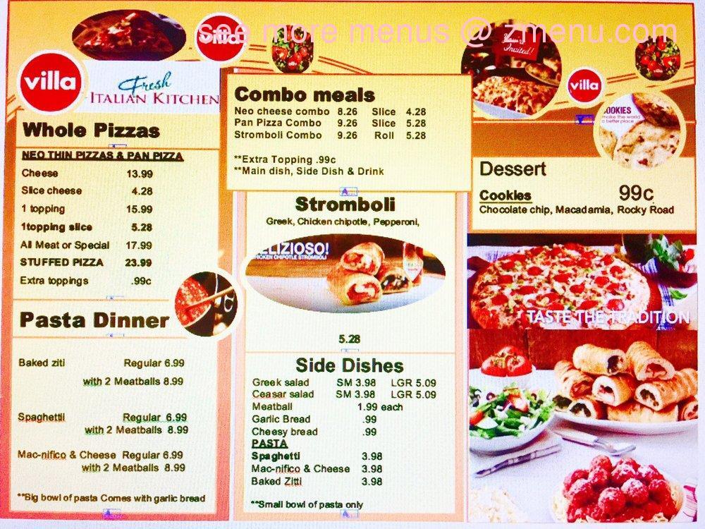 Online Menu Of Villa Fresh Italian Kitchen Restaurant Hurst Texas 76053 Zmenu