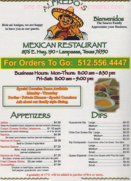 A great menu - Picture of Alfredo's Restaurant, Pecos ...