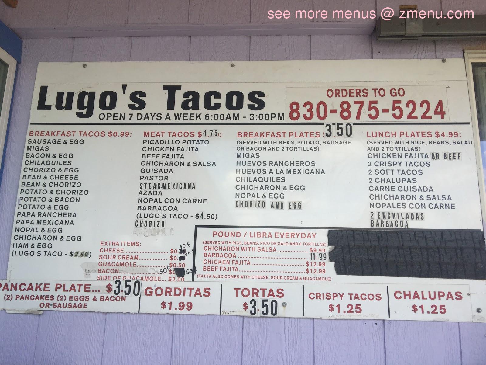 Menu At Lugo S Tacos Restaurant Luling