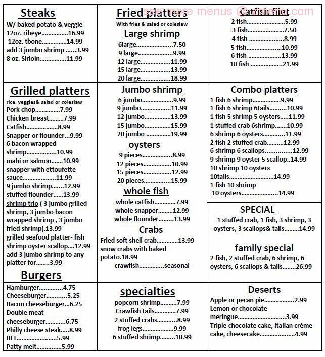 Online Menu Of Manvel Seafood Restaurant Manvel Texas