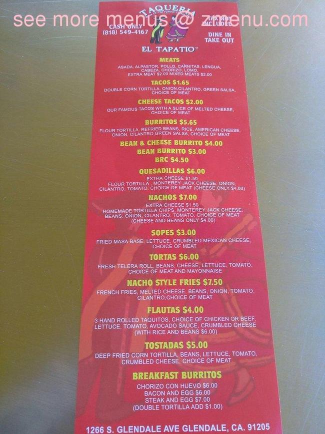 Online Menu Of Taqueria El Tapatio Restaurant Glendale