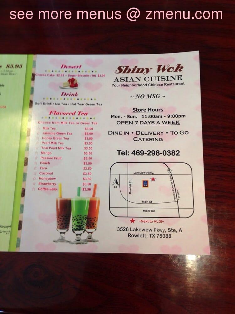 Online Menu of Shiny Wok Restaurant, Rowlett, Texas, 75088