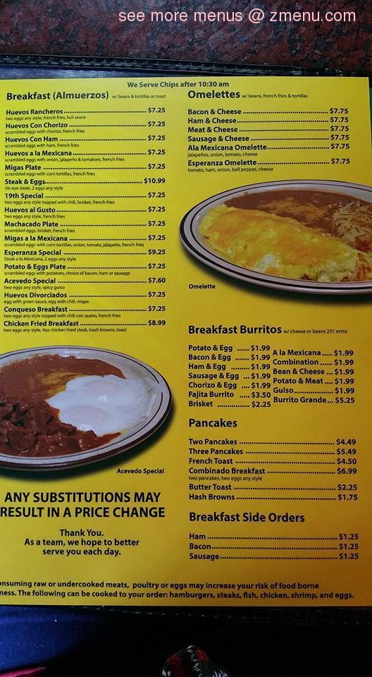 Online Menu Of La Esperanza Restaurant San Angelo Texas