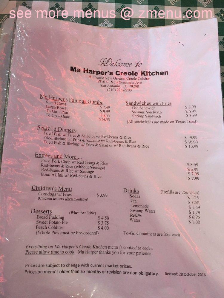 Online Menu Of Ma Harpers Creole Kitchen Restaurant San