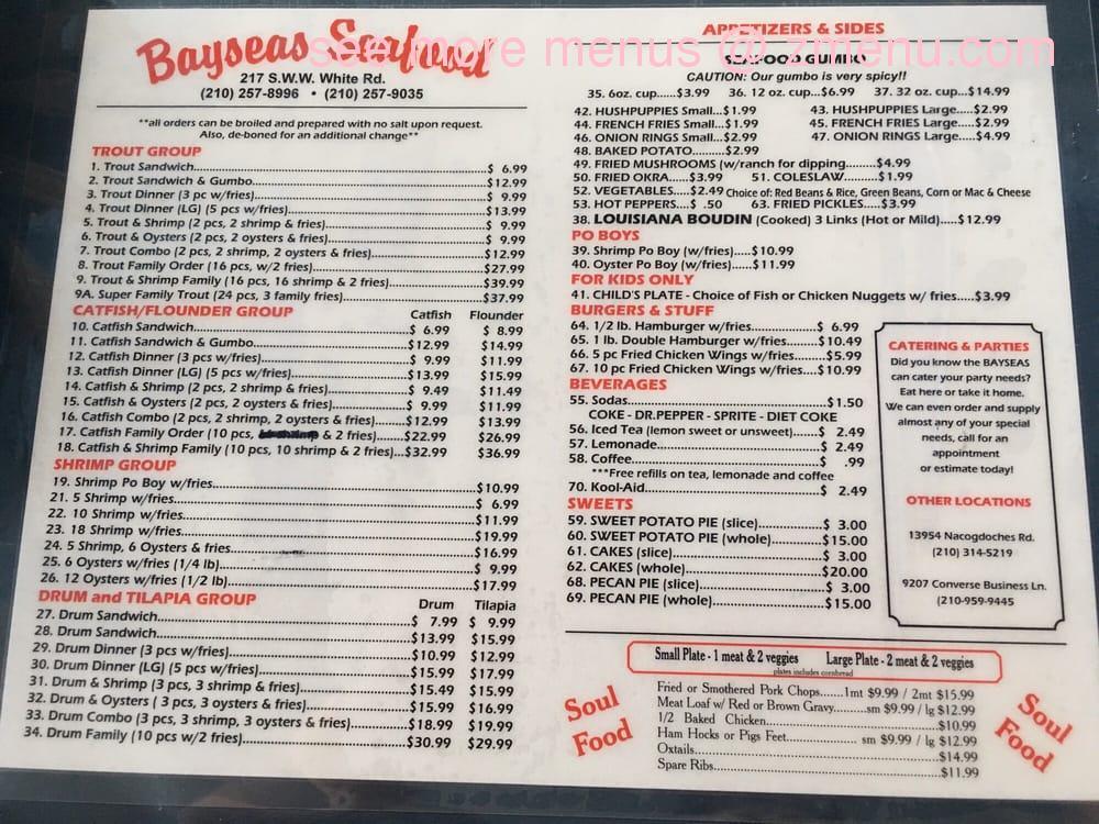 Online Menu Of Bay Seas Fish Market Amp Restaurant