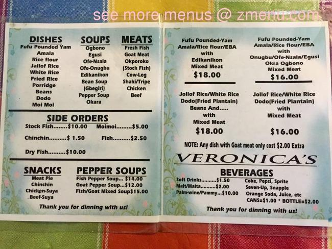 Online Menu Of Veronicas Kitchen Restaurant Inglewood