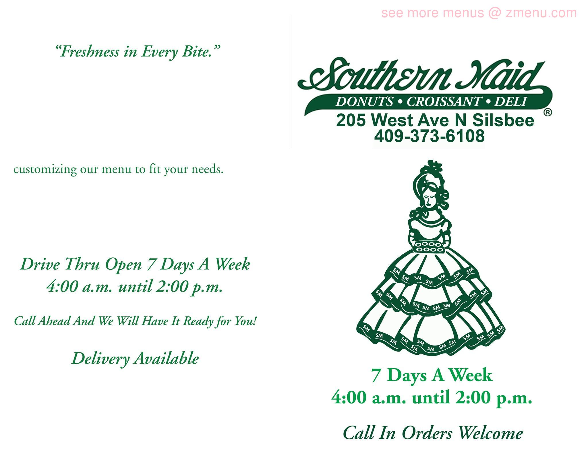 online menu of southern maid donuts restaurant silsbee texas