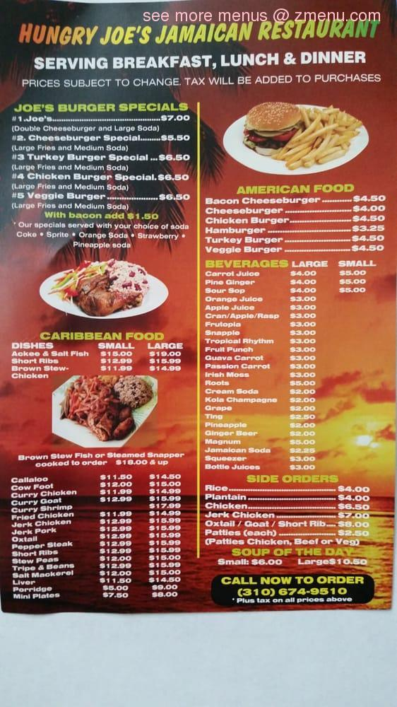 online menu of hungry joes burgers  jamaican restaurant