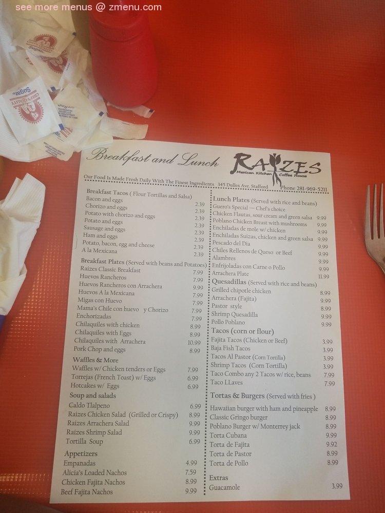 Online Menu Of Raizes Mexican Kitchen Restaurant Stafford Texas 77477 Zmenu