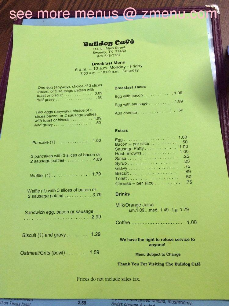 bulldog menu online menu of bulldogs cafe restaurant sweeny texas 3683