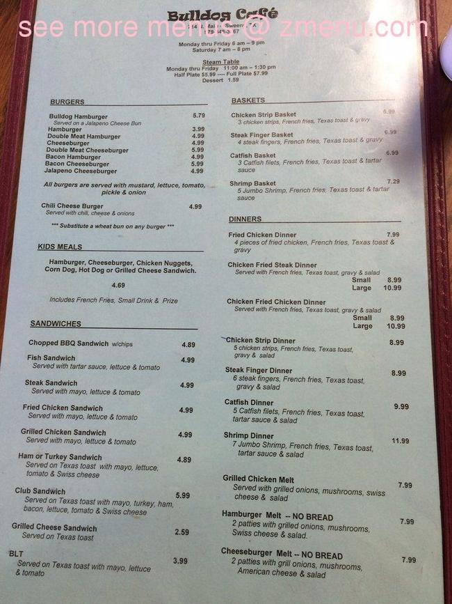 bulldog menu online menu of bulldogs cafe restaurant sweeny texas 3585